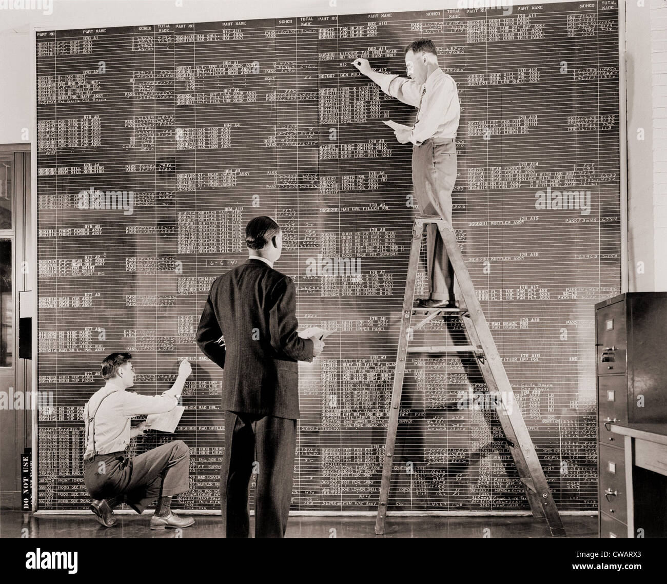 General Motors managers at a large control board, which resembles a spreadsheet, keep check on flow of materials - Stock Image