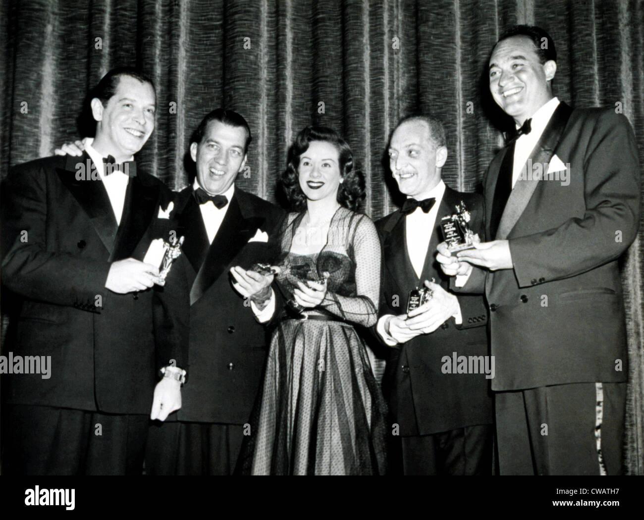 Milton Berle, Ed Sullivan, Fran Warren, Everett Sloane, Mel Allen at the Michael Awards, 1950. Courtesy: CSU Archives - Stock Image