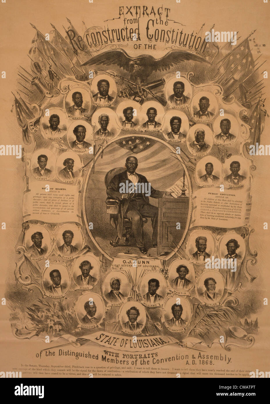 1868 commemorative photo collage of politically active African Americans in Louisiana during Reconstruction.  Lieut. - Stock Image
