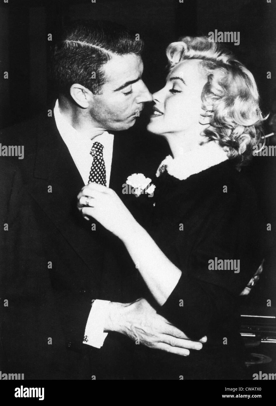 Joe DiMaggio, Marilyn Monroe just after their wedding, 1954 - Stock Image