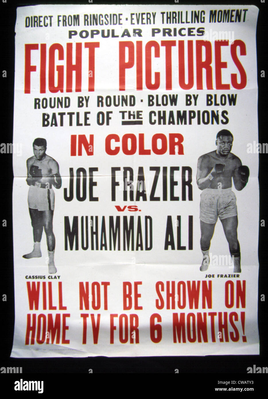 Poster for the first Joe Frazier vs. Muhammad Ali title fight, 1971. Courtesy: CSU Archives / Everett Collection - Stock Image