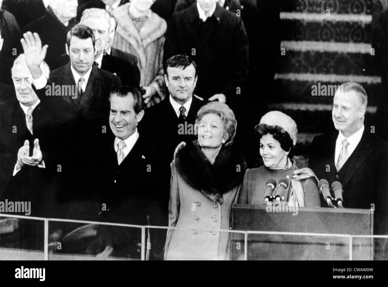 Richard Nixon waves to crowd at inaugural celebration, 01-20-1973.. Courtesy: CSU Archives / Everett Collection - Stock Image