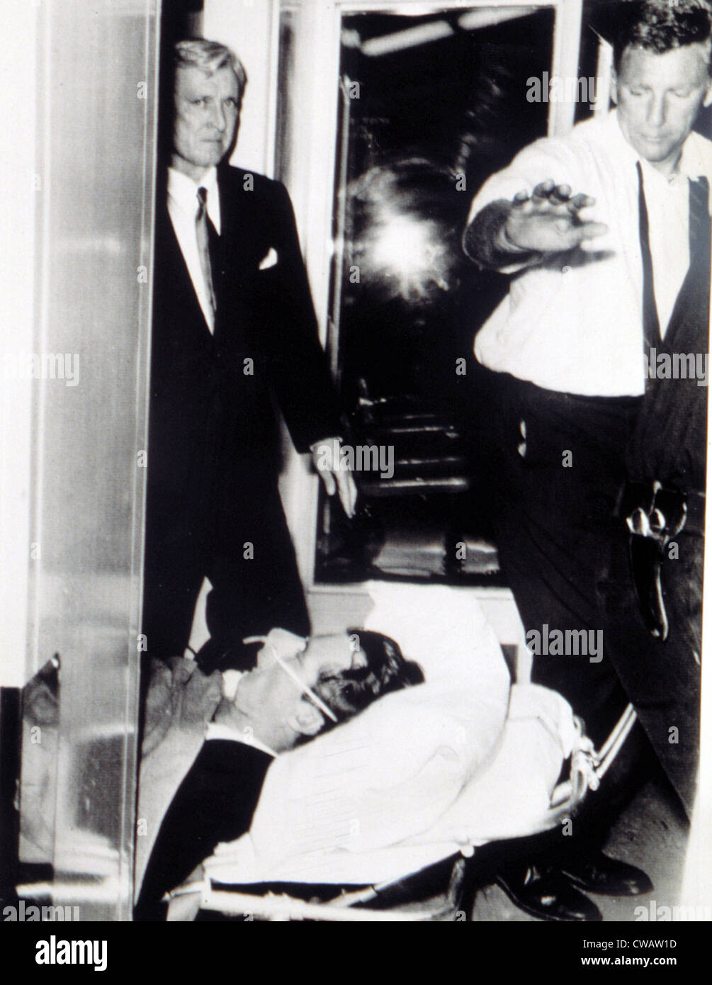 ROBERT KENNEDY, transported to hospital after being shot, June 5, 1968. Courtesy: CSU Archives / Everett Collection Stock Photo