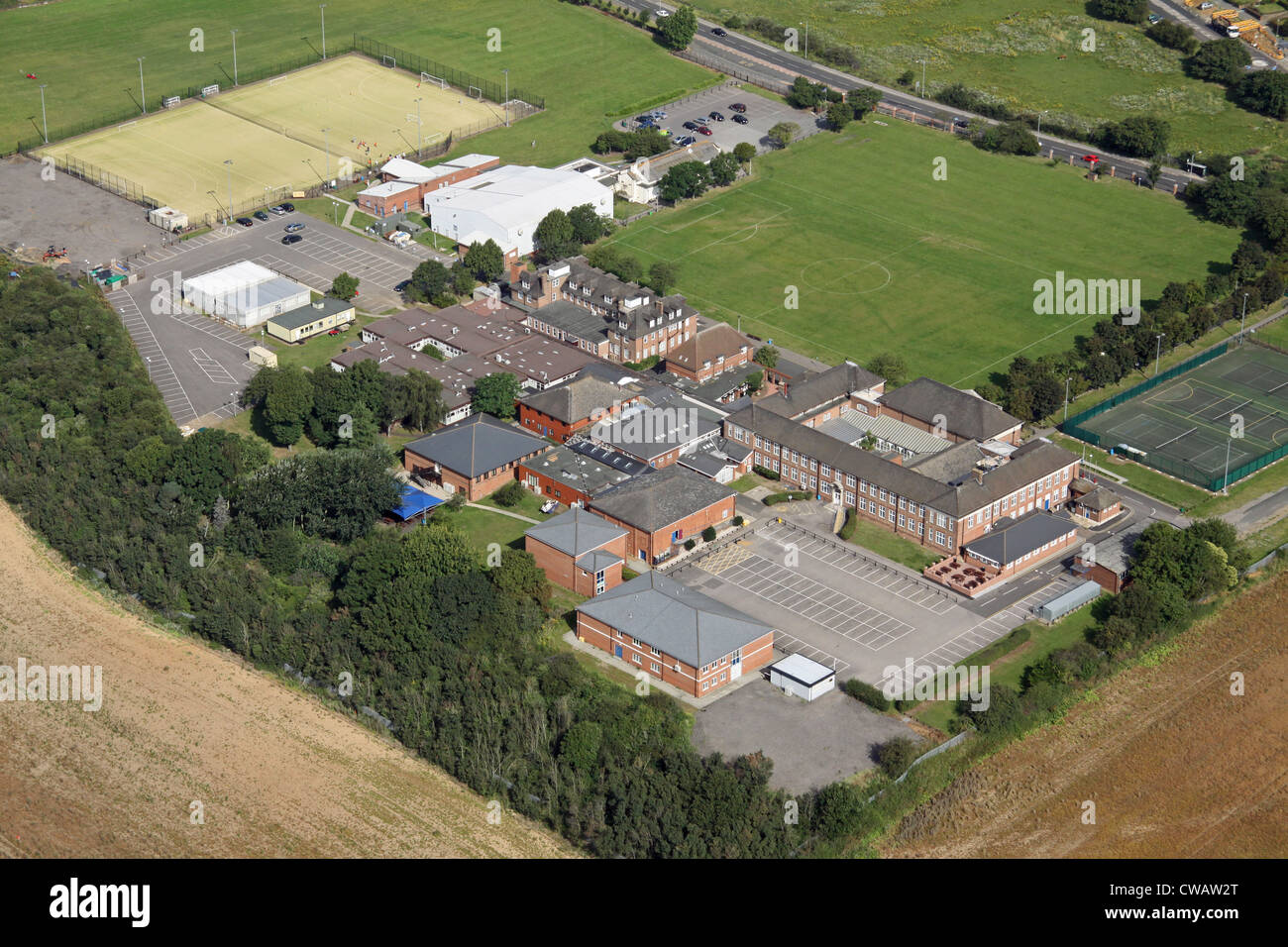 aerial view of Palmer's College, Grays, Thurrock, Essex - Stock Image