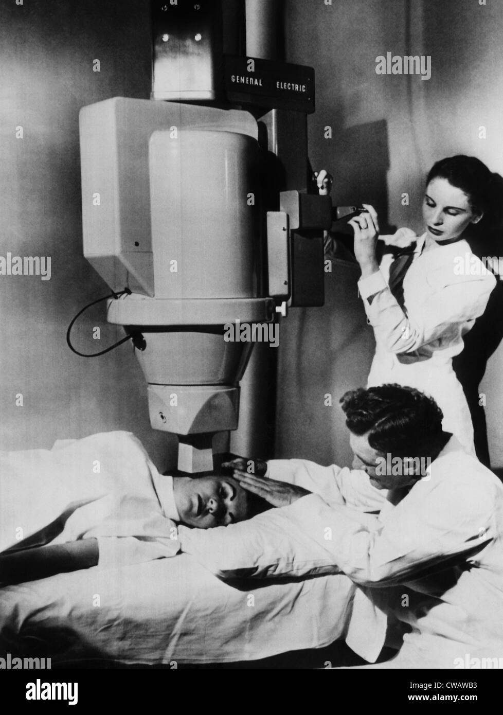 The Cobalt-60 Cancer Tele-Therapy Unit. Instead of an x-ray tube, the unit uses four wafers of radioactive cobalt. - Stock Image