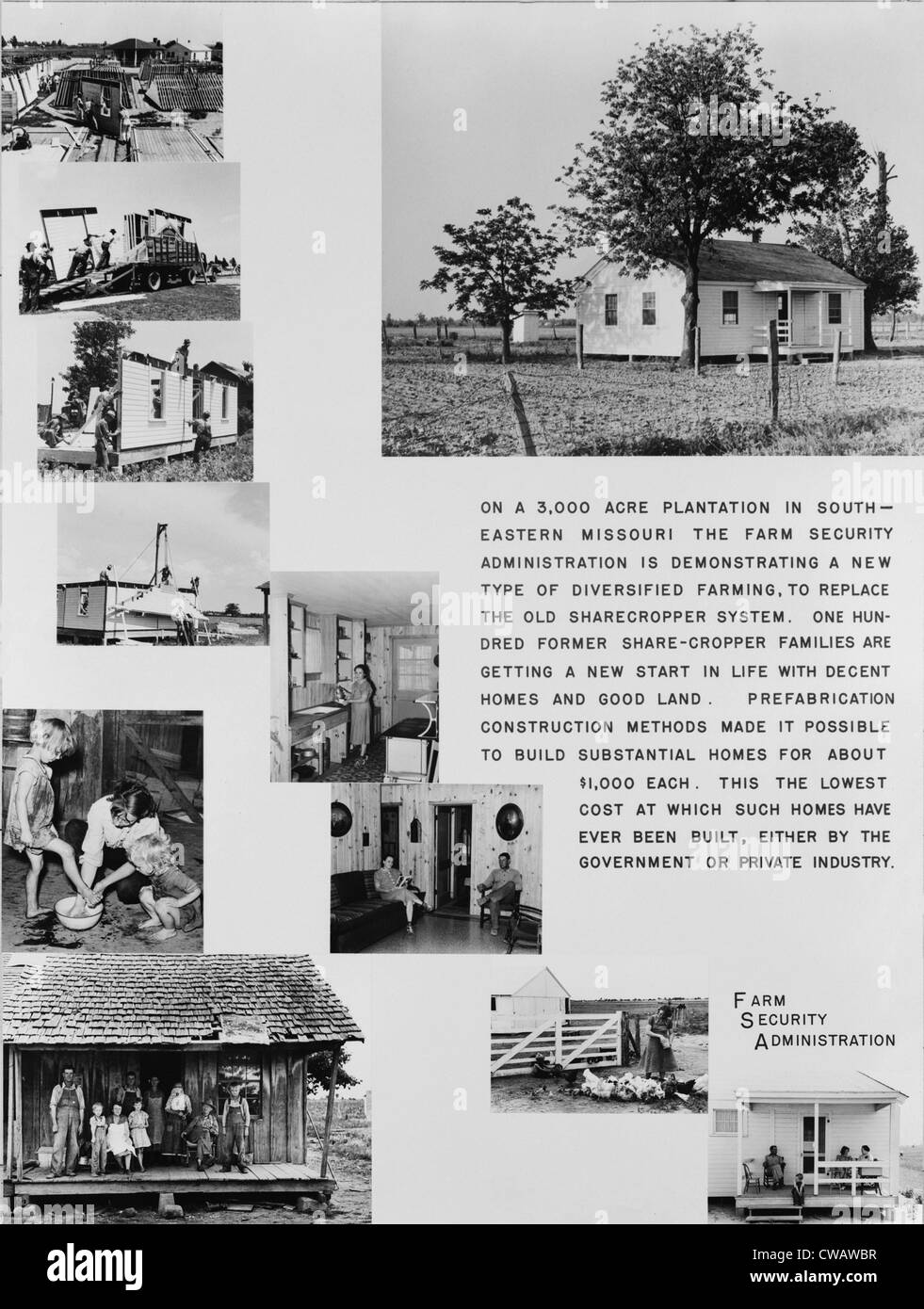 Poster promoting the most radical Farm Security Administration program, the resettlement of poor farmers to new - Stock Image