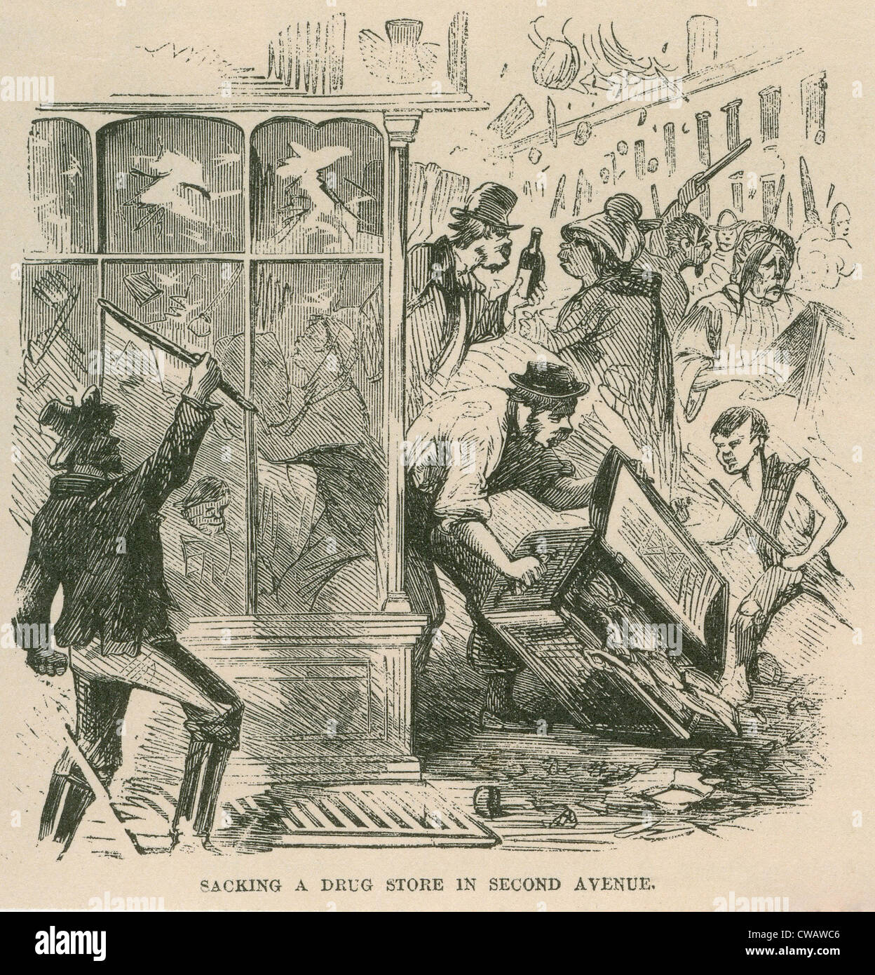 Mob looting of a drug store on Second Avenue during Draft Riots in New York City of July 13-16, 1863. The riots Stock Photo