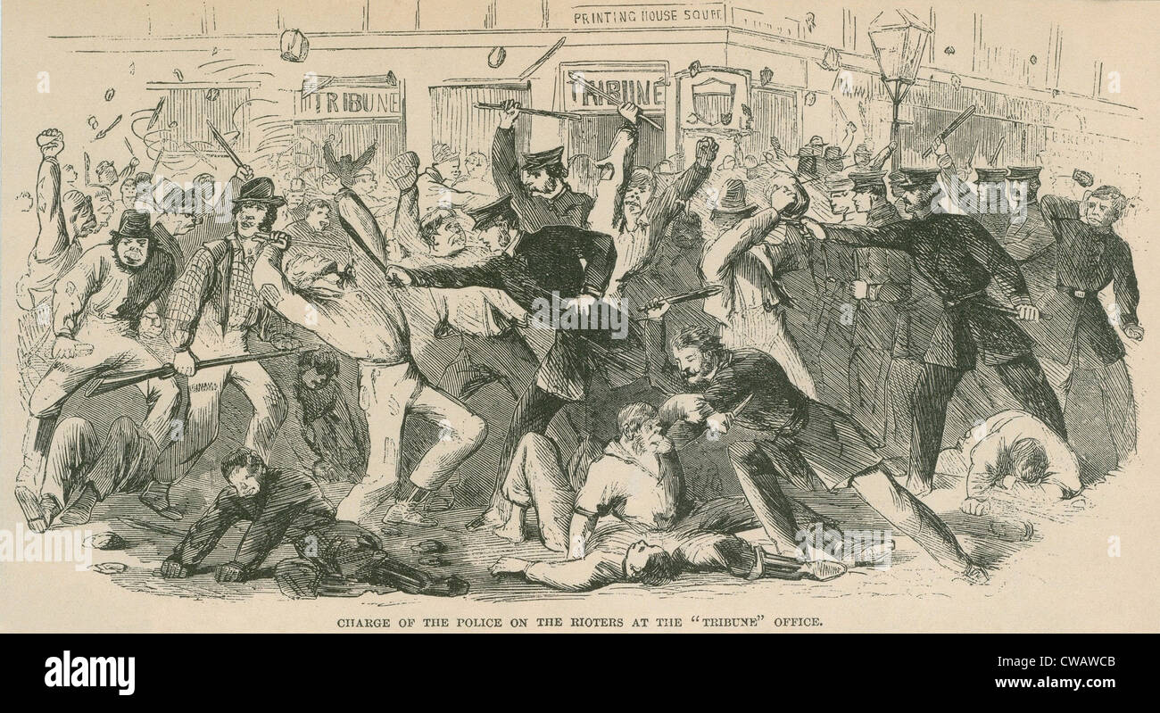 The charge of the  New York City police on the Draft Rioters at the Tribune Office. The Draft Riots lasted from Stock Photo