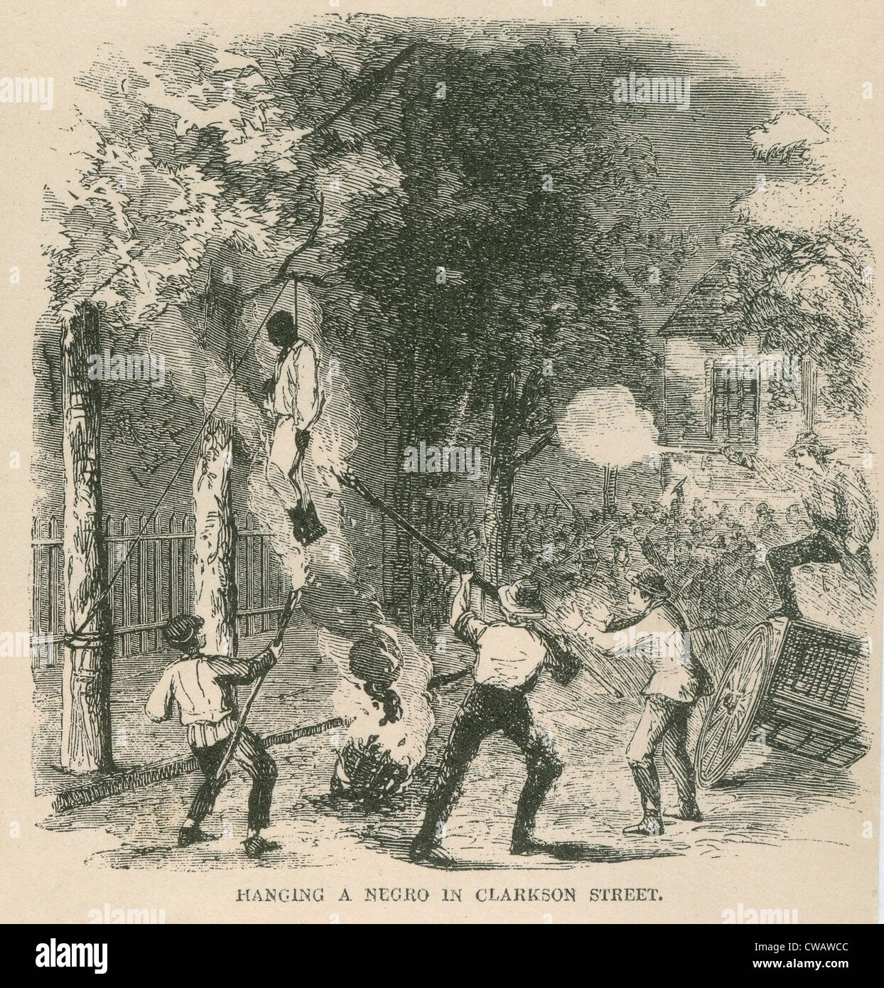 An African American was attacked by a mob of 400 and then hung from a tree and set alight on Clark Street during - Stock Image