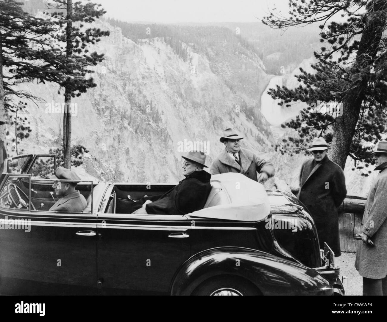 President Franklin Roosevelt (1882-1945), confined in his automobile at Artist Point, Yellowstone National Park, - Stock Image