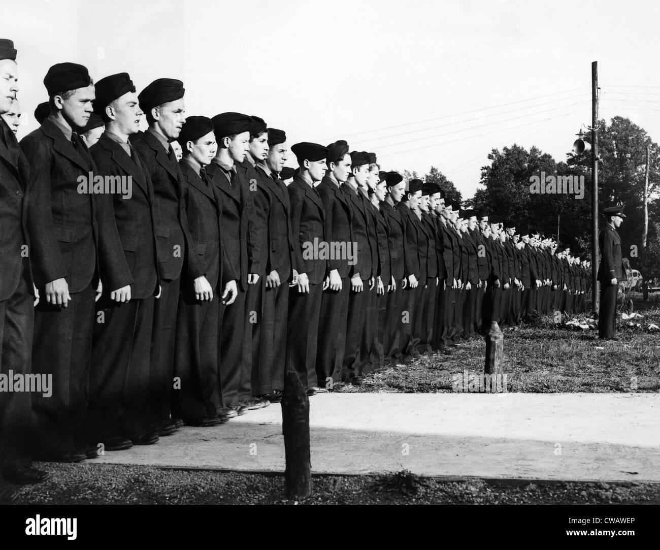 Memebrs of Company 356-SP6 of the Civilian Conservation Corps' Camp Montgomery display their new uniforms. Garett - Stock Image