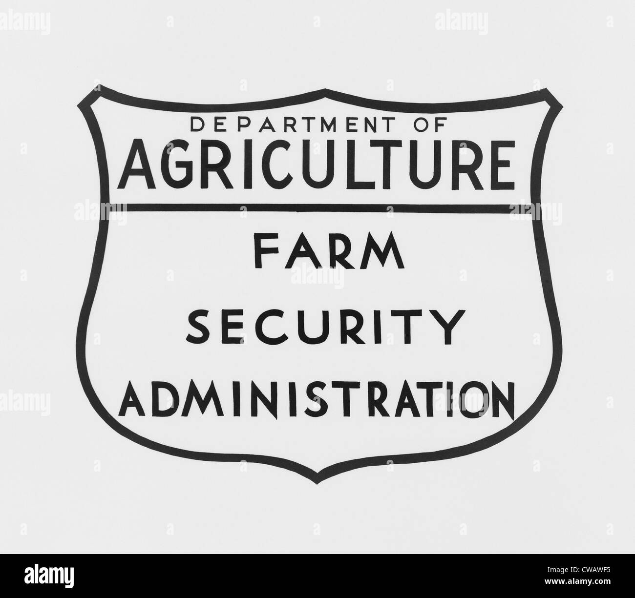 Farm Security Administration emblem. The Resettlement Administration was renamed the  Farm Security Administration - Stock Image