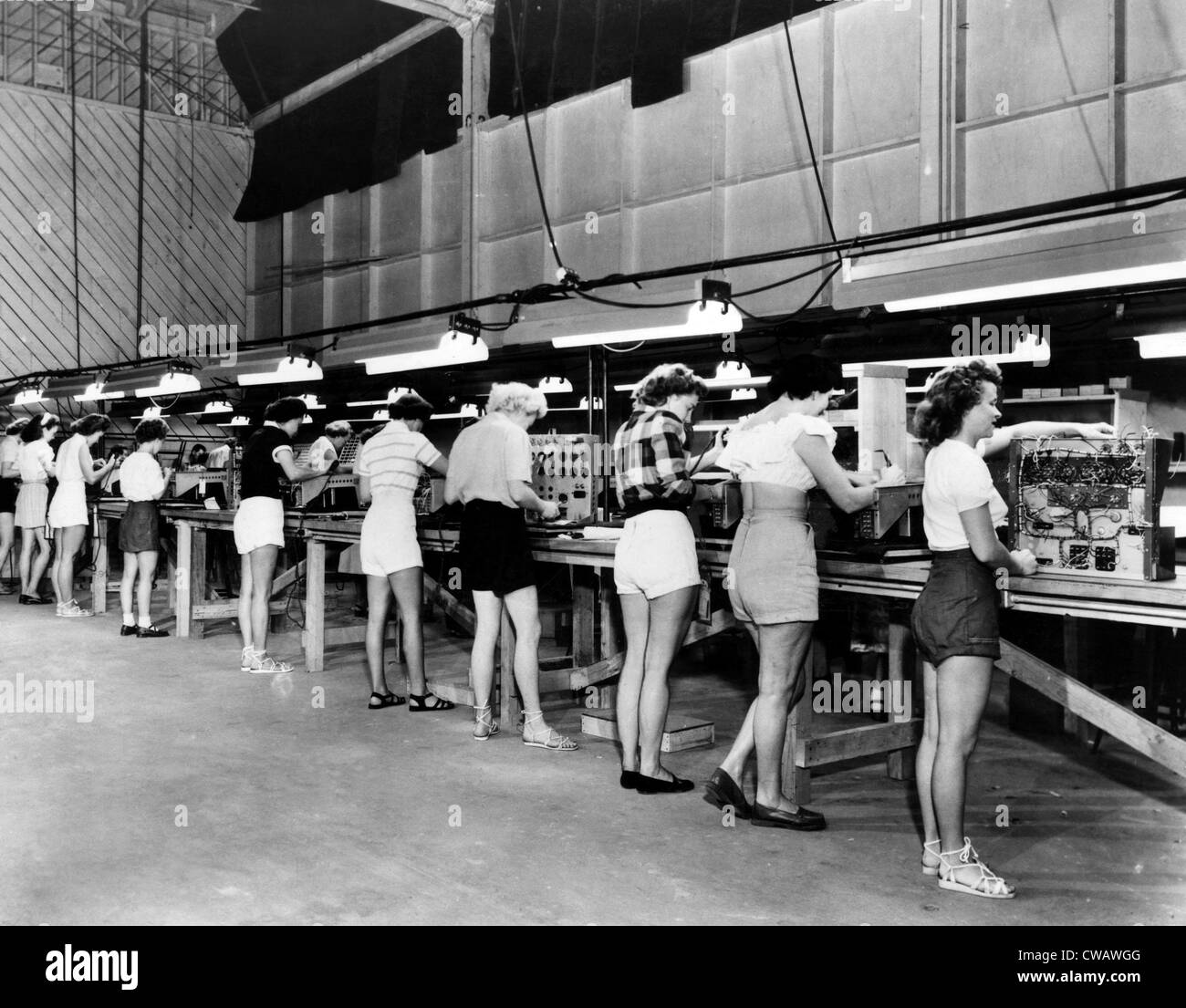Women at Bardwell & McAlister Electronic Plant in Burbank work in shorts during a heat wave, 1951. Courtesy: - Stock Image