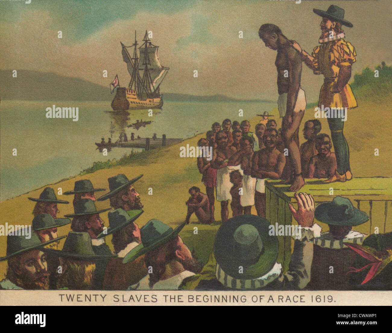 Auctioning of newly arrived African captives in Jamestown, Virginia in 1617. Lithographic illustration of 1897. - Stock Image