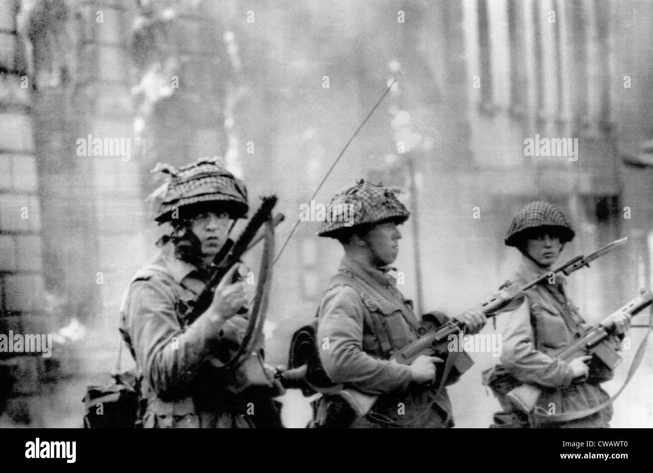 British soldiers stand guard in the Falls Road section of Belfast. August 15, 1969. Courtesy: CSU Archives/Everett - Stock Image