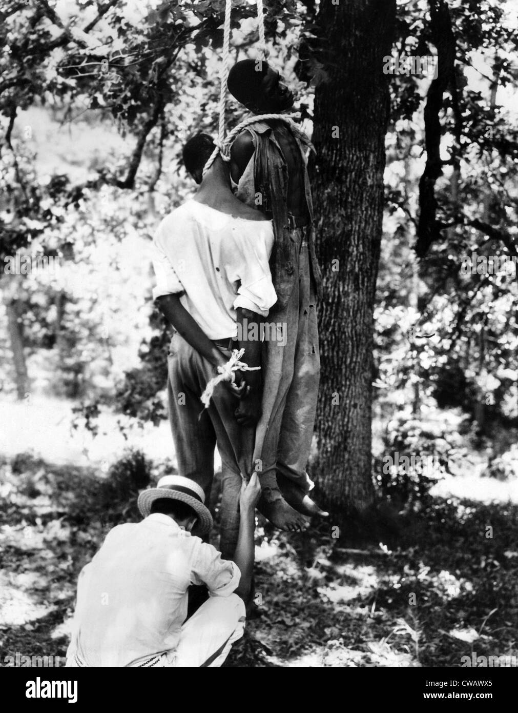 Lynching of two African American men, Bert Moore and Dooley Morton, both accused of two attacks on white women. - Stock Image