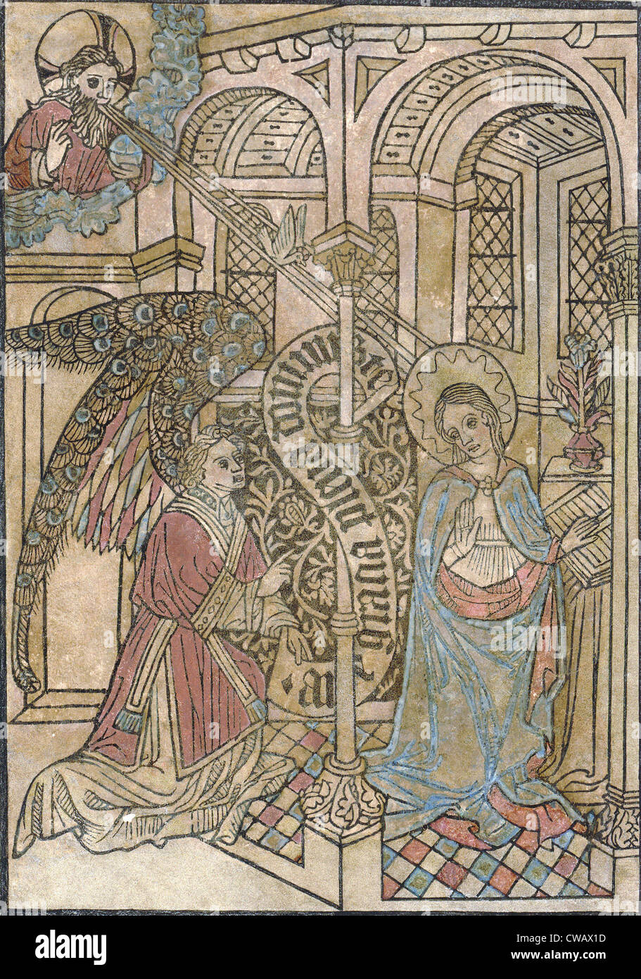 The Annunciation, depicting the visitation of the archangel Gabriel, circa 1450s. - Stock Image