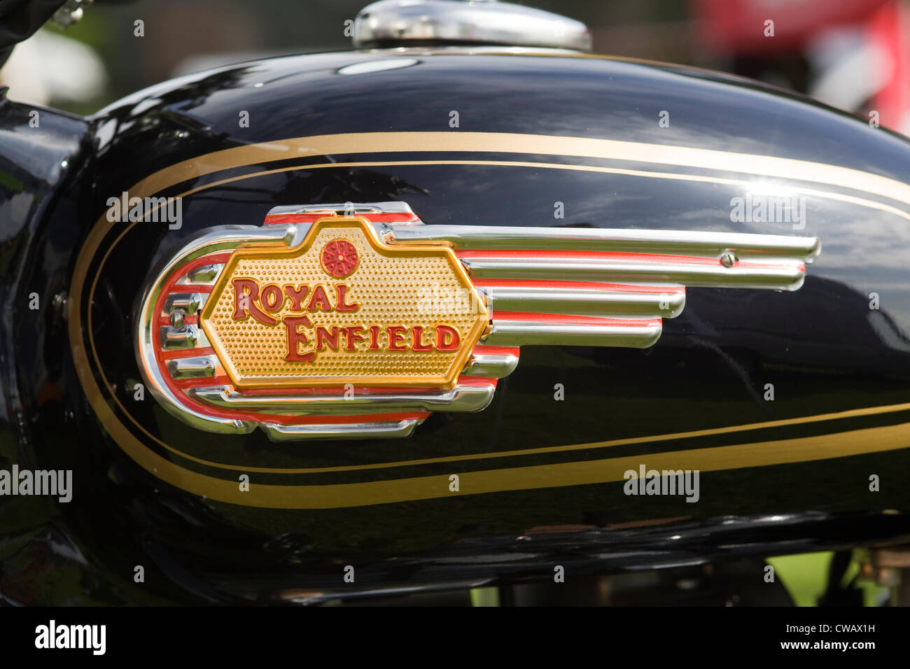 Royal Enfield motorbike Tank Decal Badge at a show ground in England