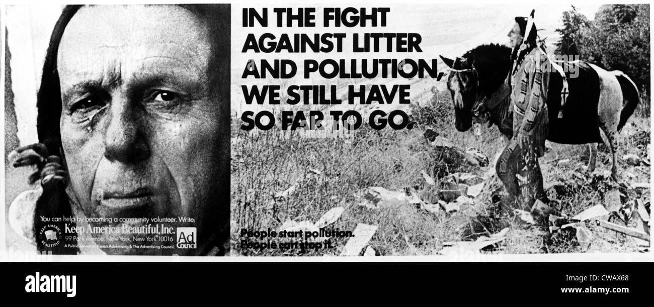 'Keep America Beautiful', (ad campaign poster), Iron Eyes Cody, ca. early-1970s. Courtesy: CSU Archives - Stock Image