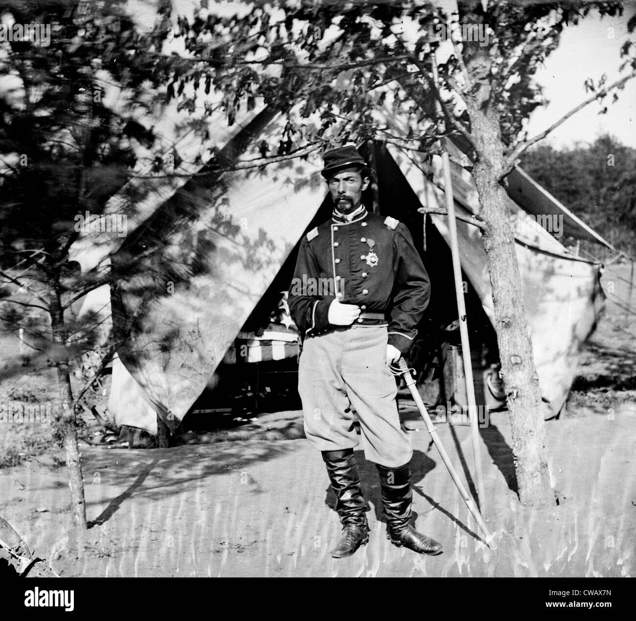 The Civil War, Bull Run, Virginia (vicinity), Col. Alfred Duffie, 1st Rhode Island Cavalry, from glass negative, - Stock Image