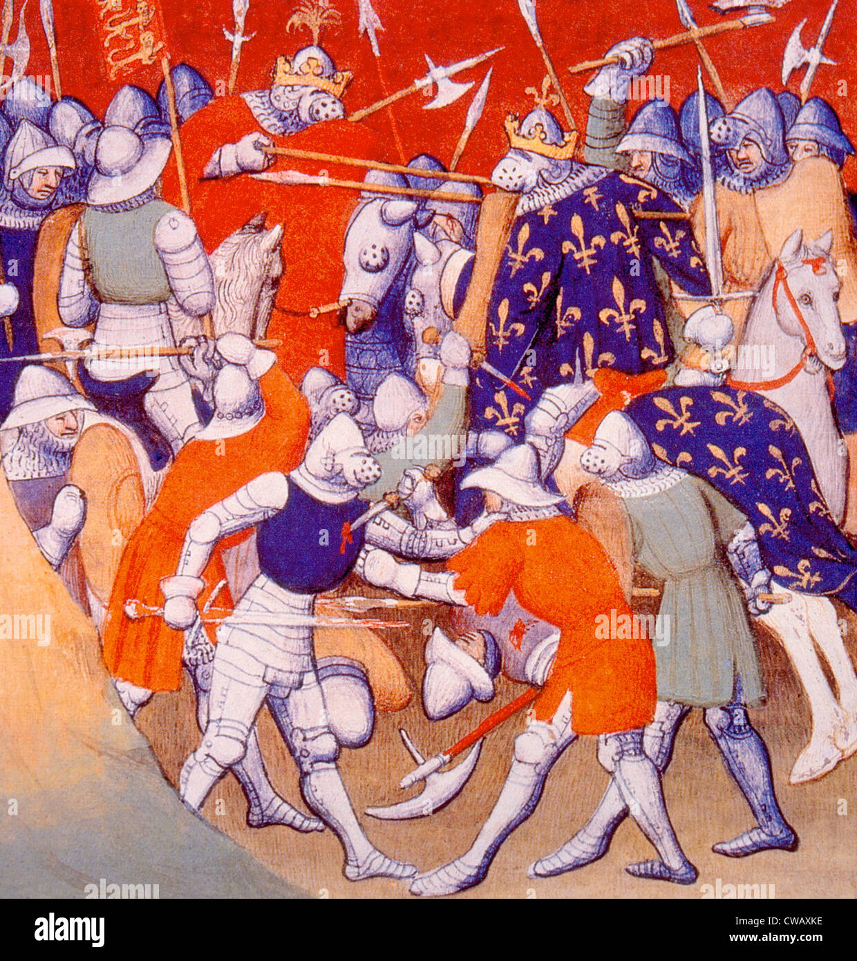 The Battle of Poitiers, Edward the Black Prince defeats and captures John II of France and his son, Philip the Bold - Stock Image