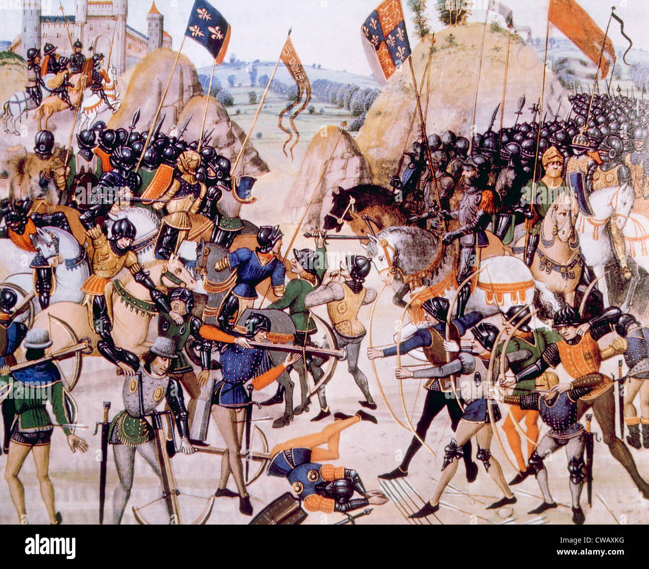 The Battle of Crecy, Edward III of England defeats Philip VI of France, August 26, 1346 - Stock Image