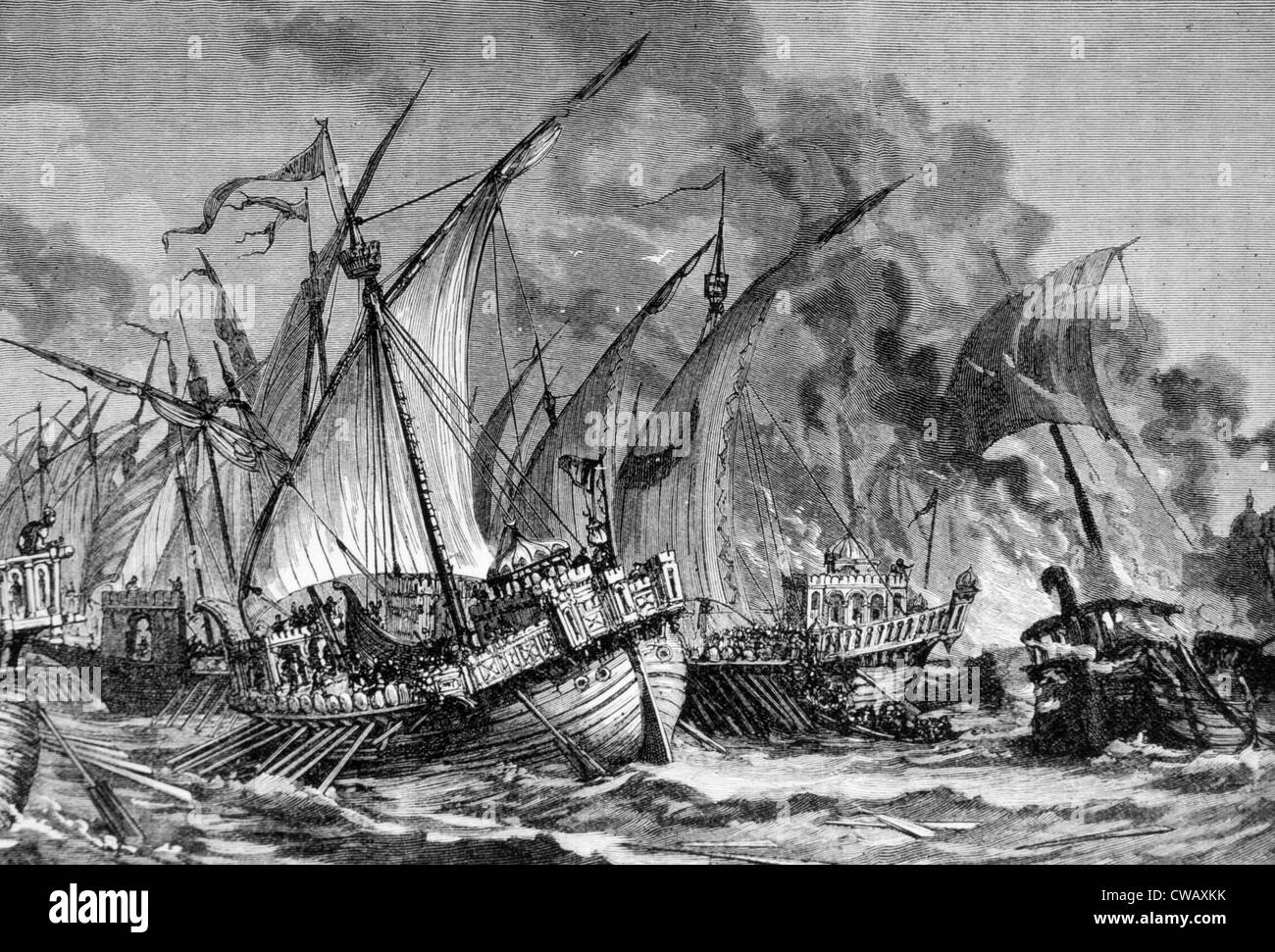 The Battle of the Masts, The fleet of Byzantine Emperor Constantine IV is defeated by the Muslim fleet in the Phoenician - Stock Image