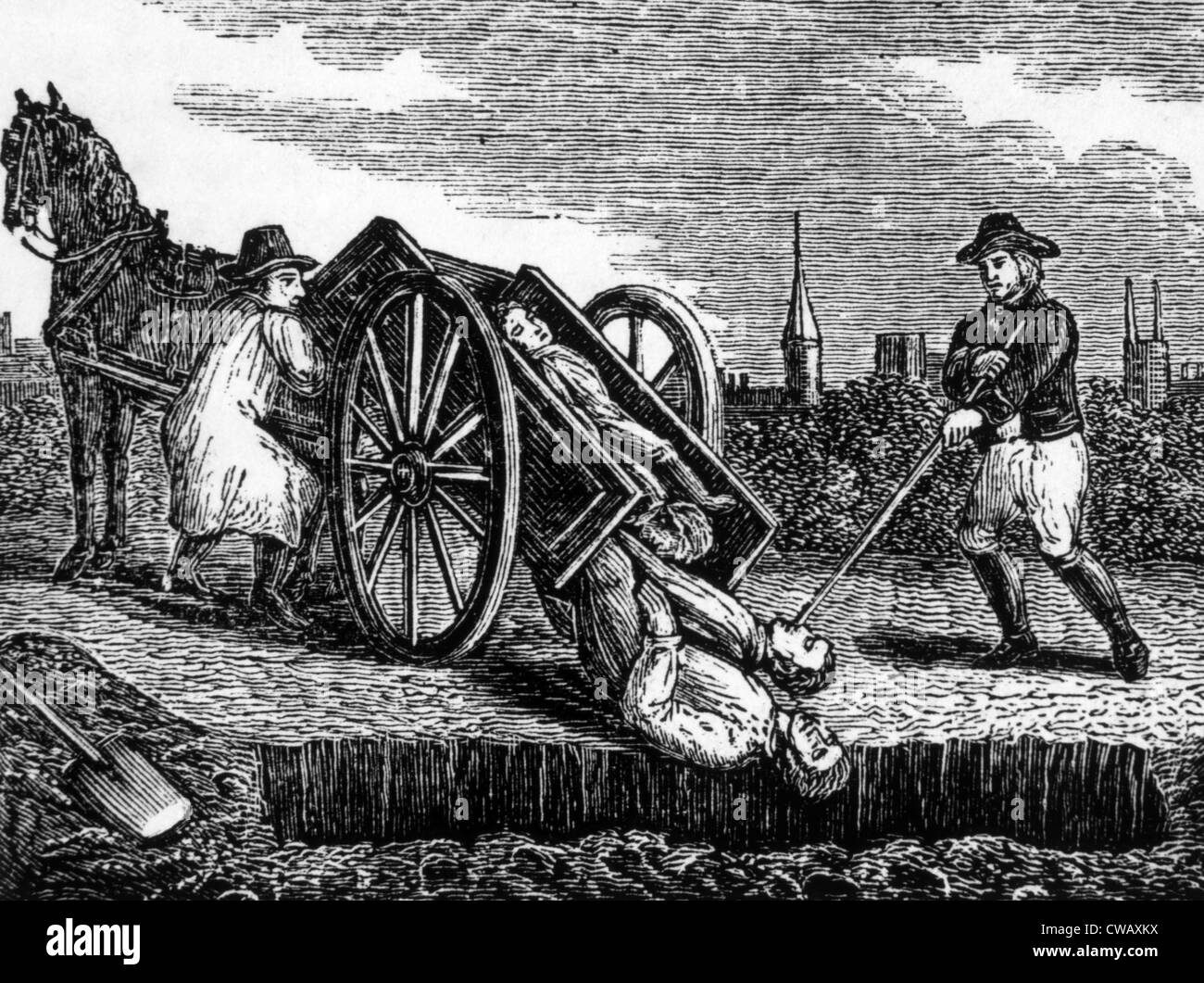 Victims of the black plague, being buried in London, 1665.   Woodcut: 1834. - Stock Image