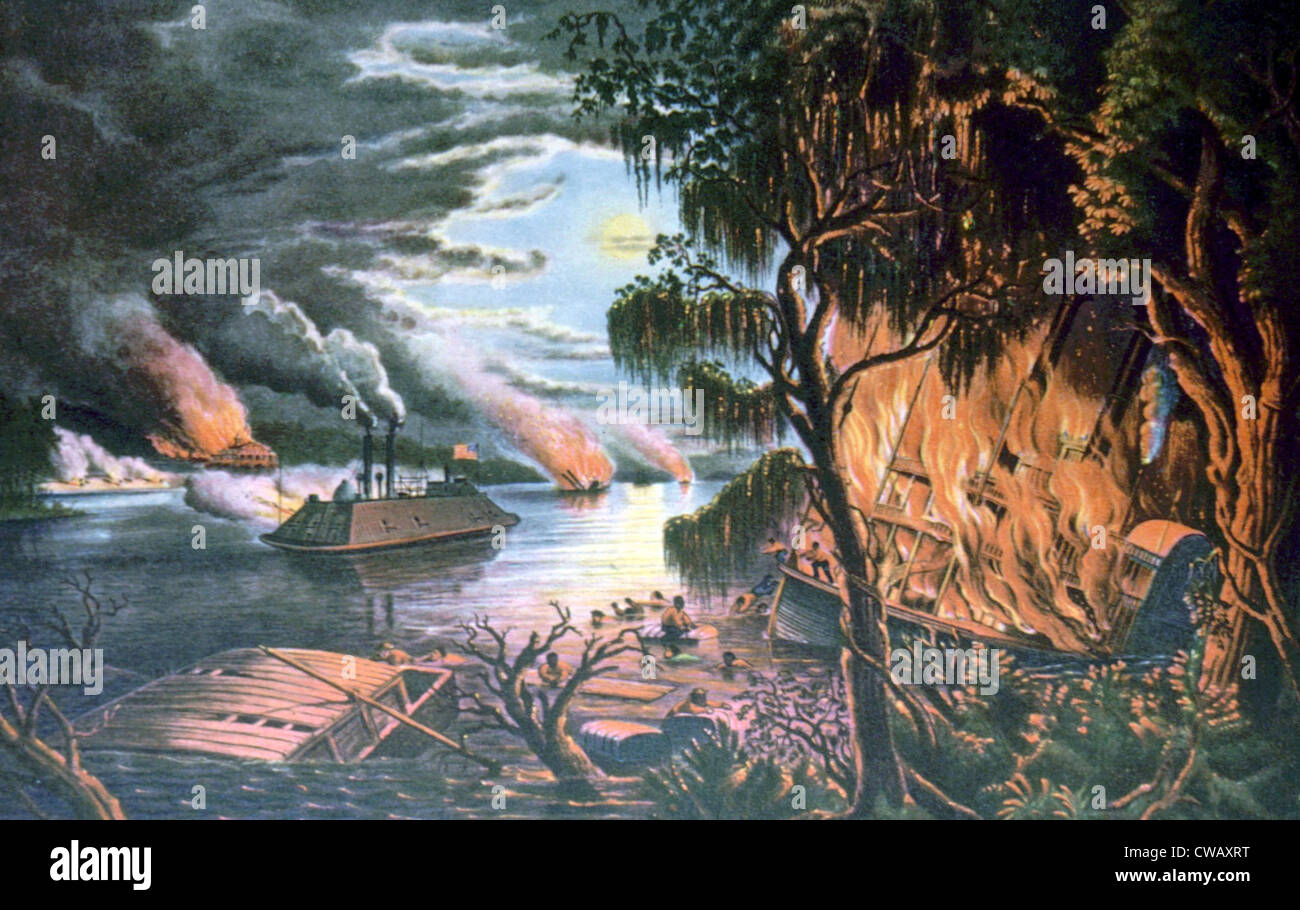 The Mississippi River in Time of War, Currier & Ives - Stock Image