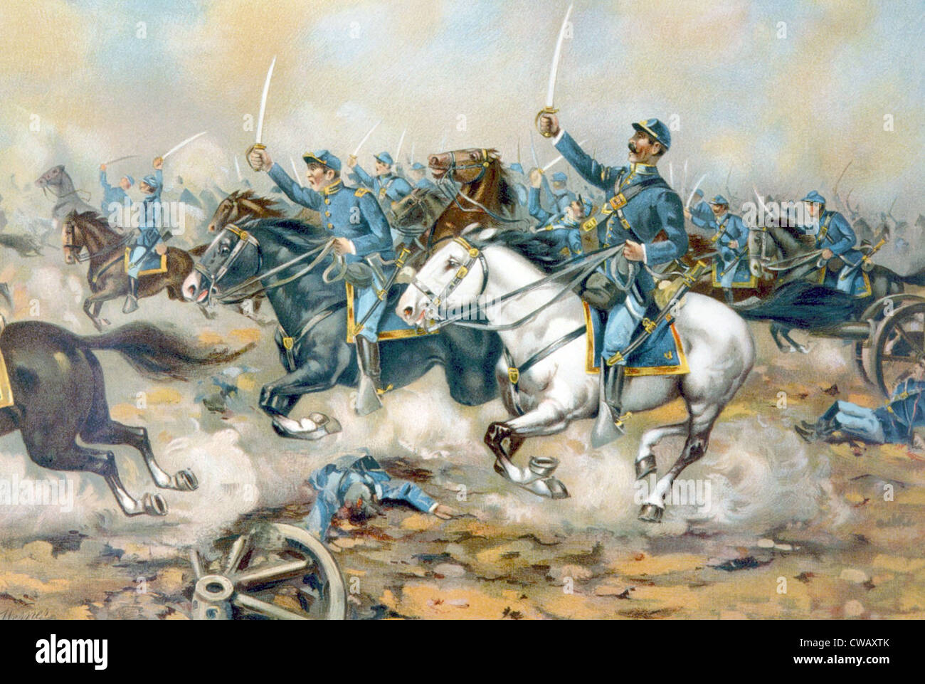 The Battle of Gaines' Mill, Union cavalry charge, 1862 - Stock Image