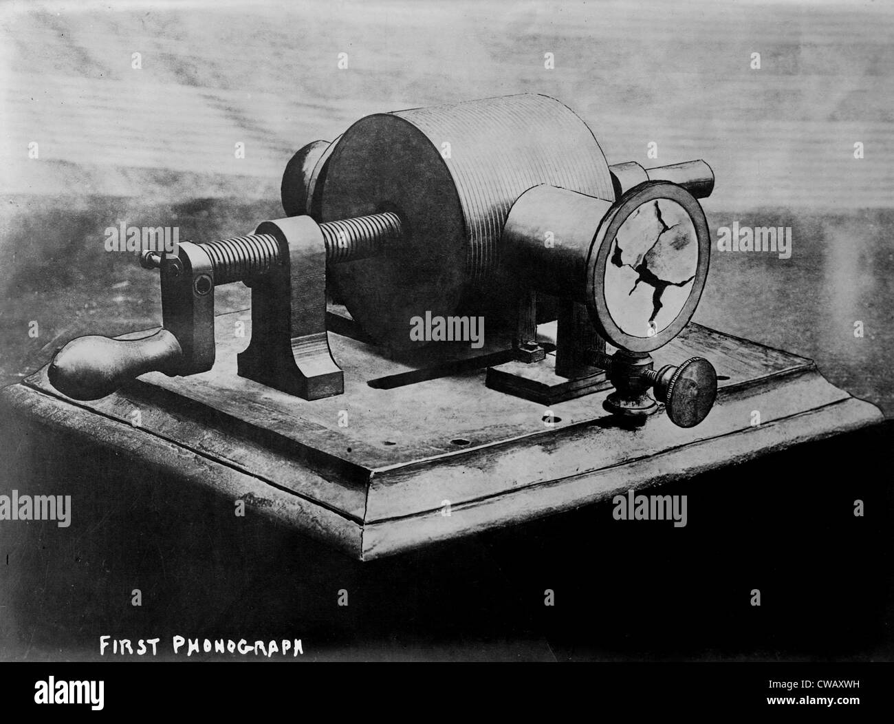 The first phonograph, circa 1860s. - Stock Image