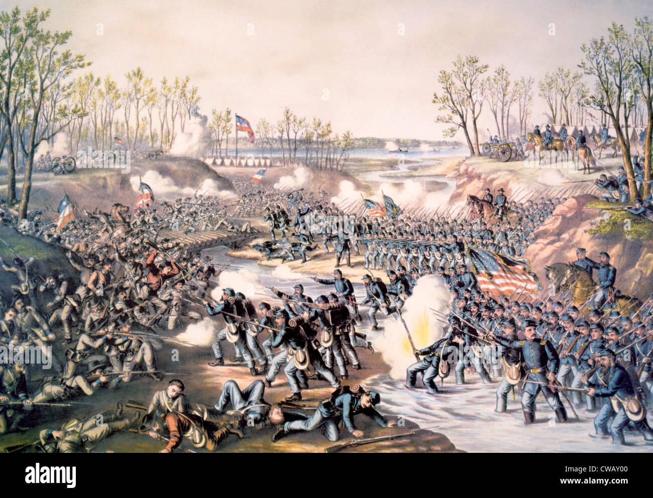 The Battle of Shiloh, April 6-7, 1862, lithograph by Kurz & Allison, 1889 - Stock Image