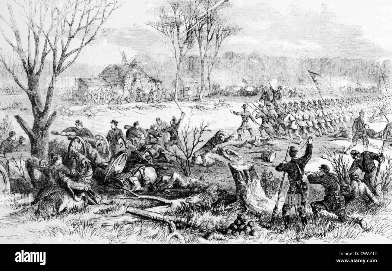 The Battle of Shiloh, recapture of artillery by the First Ohio and other regiments, April 7, 1862, from Leslie's - Stock Image