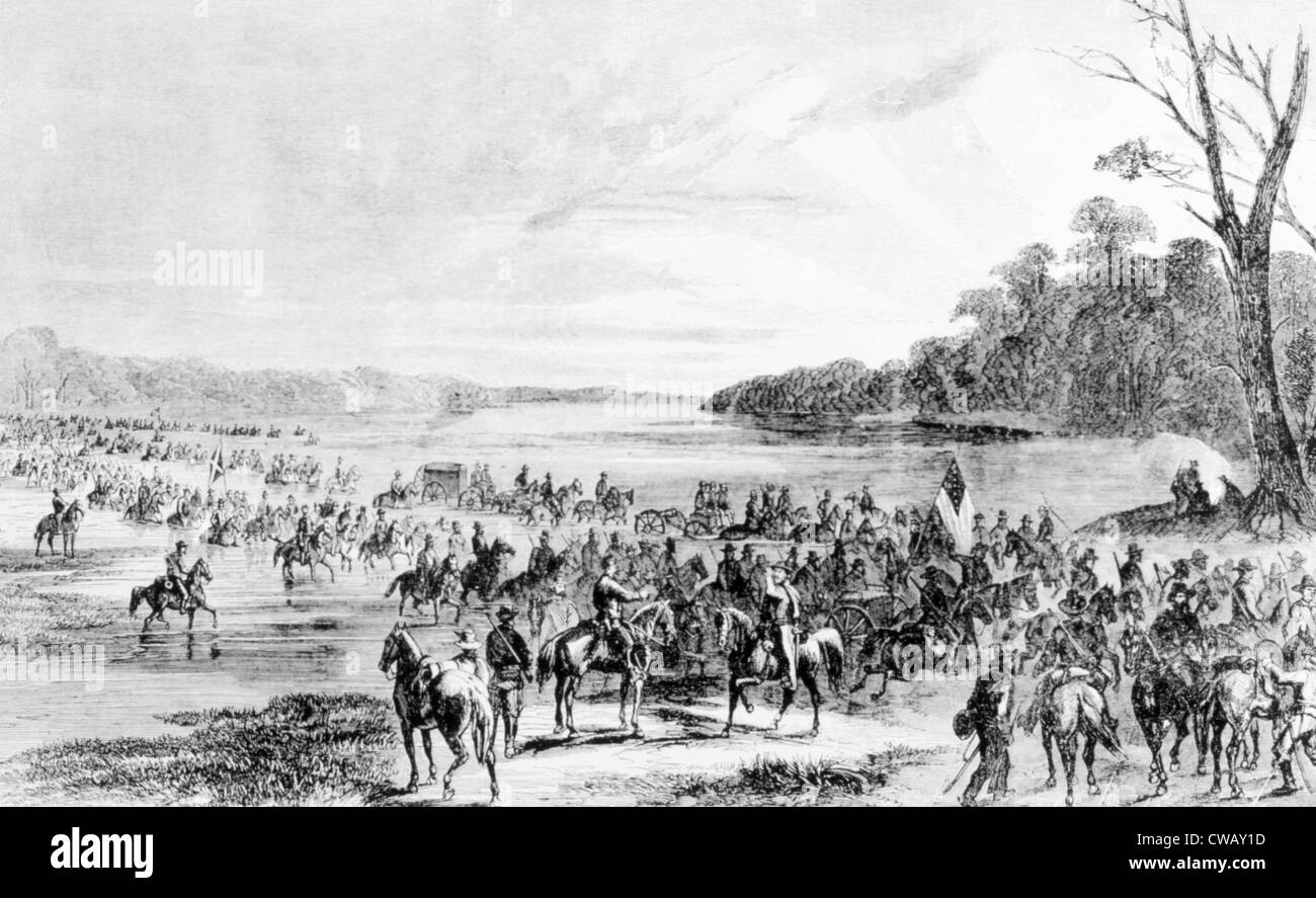 Confederate cavalry unit invading Union territory in Maryland and Pennsylvania, June 11, 1863 - Stock Image