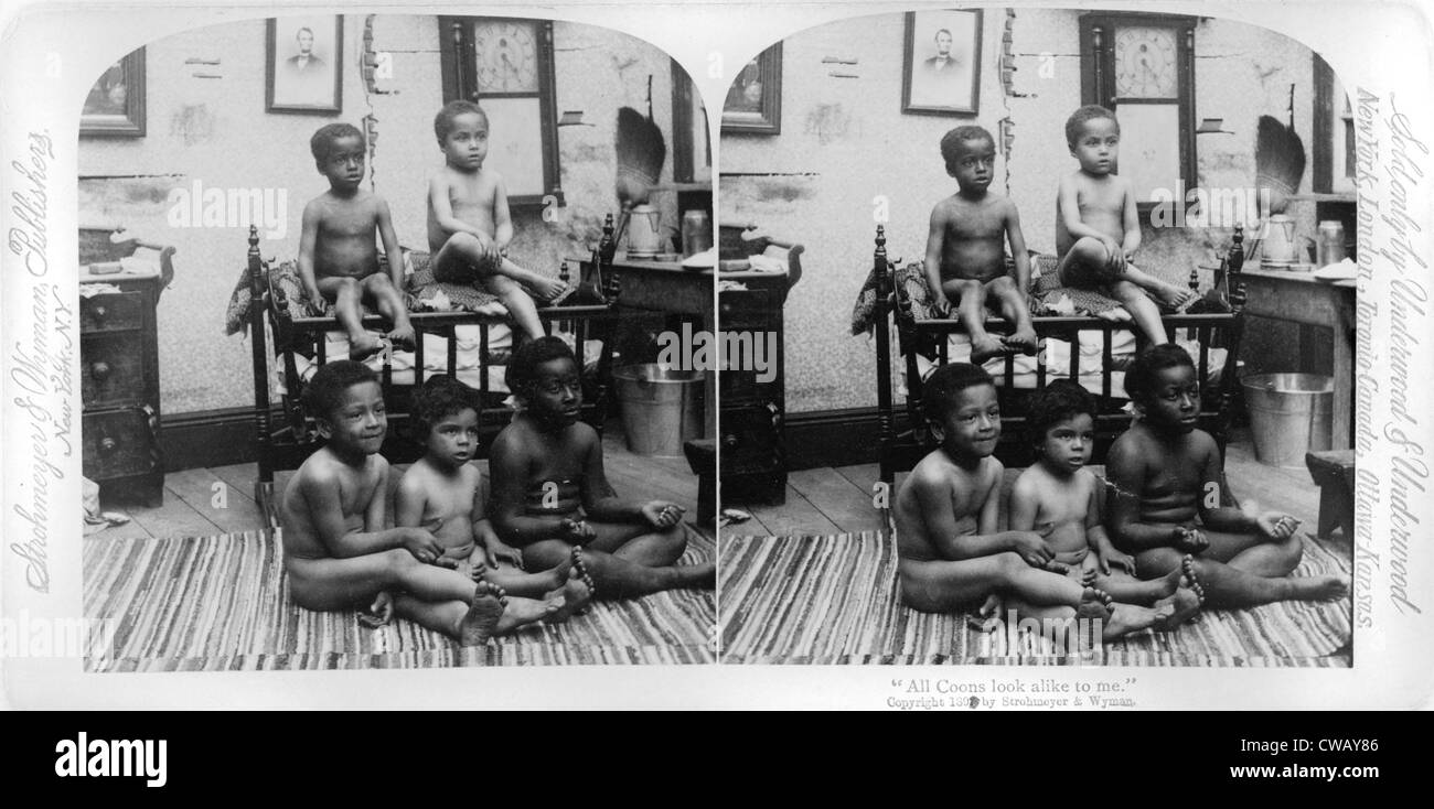 Stereocard with African American children and racist text: 'All coons look alike to me. by Strohmeyer & - Stock Image