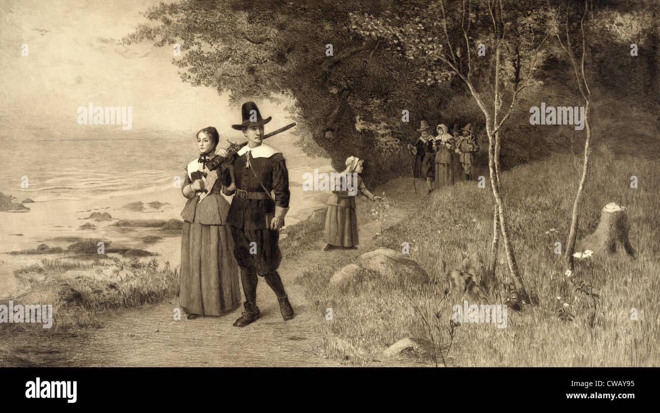 Thanksgiving, Pilgrims holding bibles, circa 1800s. - Stock Image