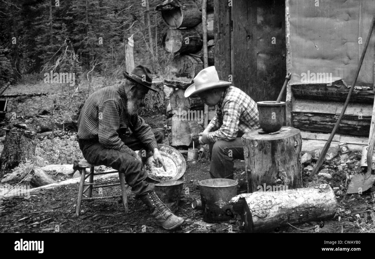 The Gold Rush, miners with gold in a pan, photograph by F.W. Byerly - Stock Image