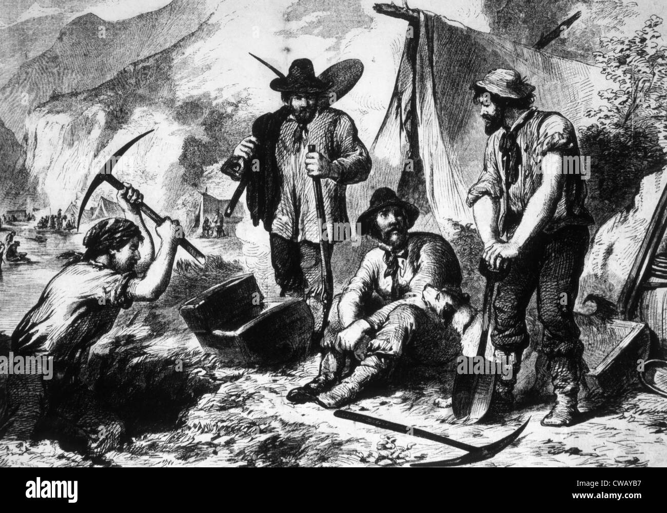 The Gold Rush, gold miners in California, 1849
