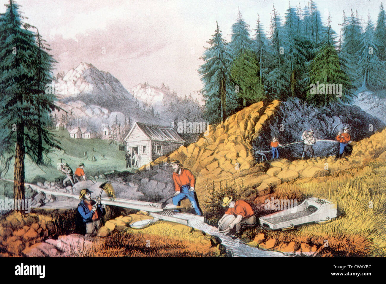 The Gold Rush, gold mining in California, ca. 1849, lithograph by Currier & Ives, 1871 - Stock Image