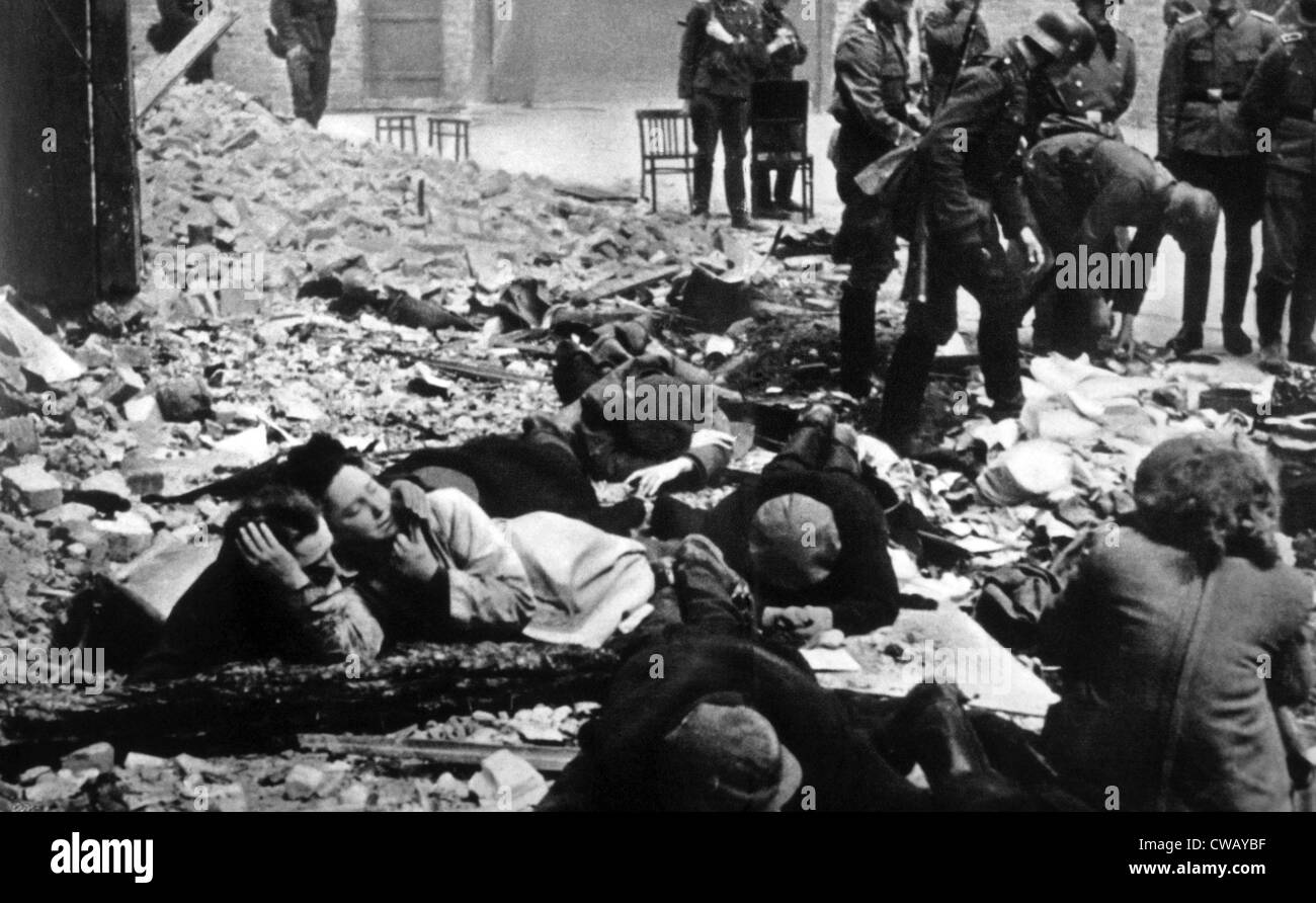 The destruction of the Warsaw ghetto by the German Army, 1943 - Stock Image