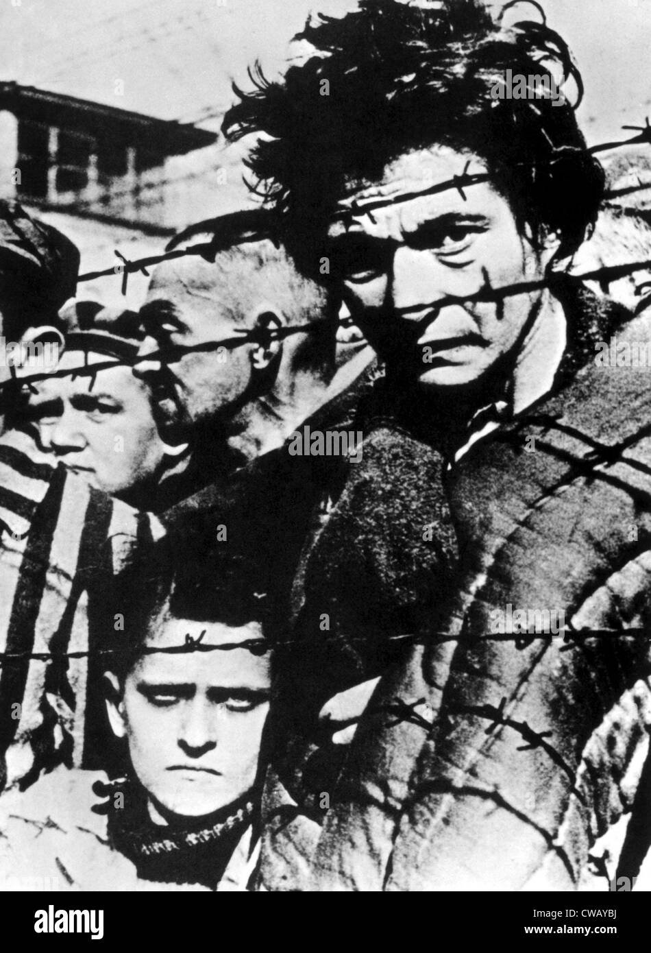 Prisoners at the Auschwitz concentration camp after their liberation by the Russian army, 1945 - Stock Image