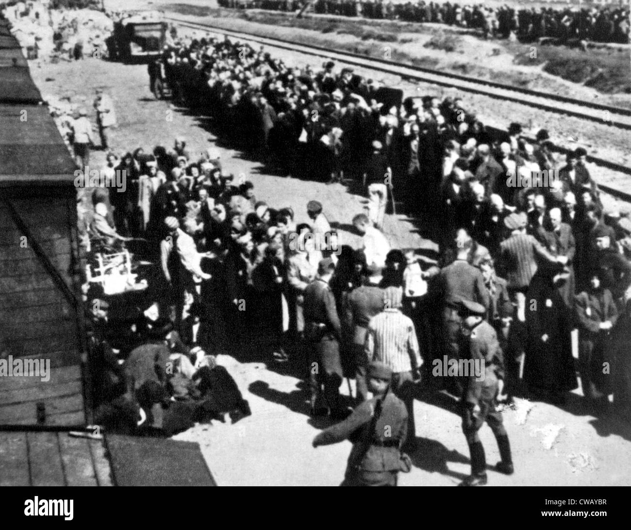 Selection and separation of prisoners at the Auschwitz-Birkenau concentration camp railway station in Poland, ca. - Stock Image