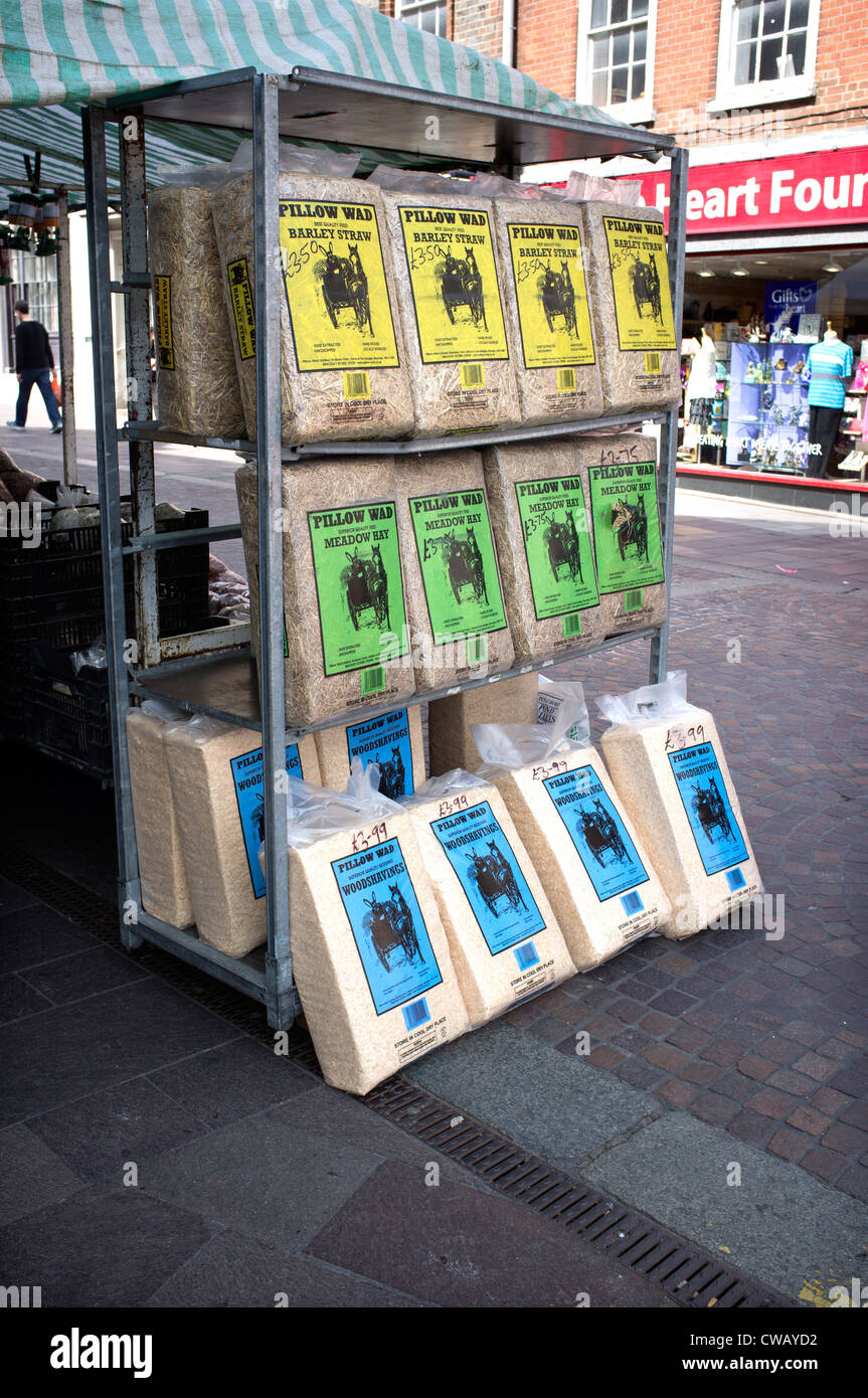 Hay Straw and Woodshavings on Sale at Stall in Newbury Town