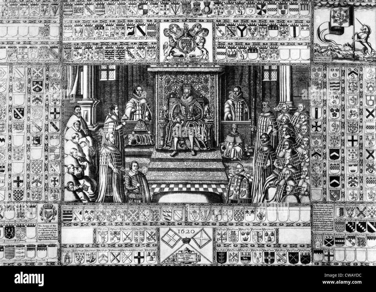 King James I (1566-1625), King James I (center, ruled England 1603-1625)  and Parliament, Lords Spiritual on the left, Lords