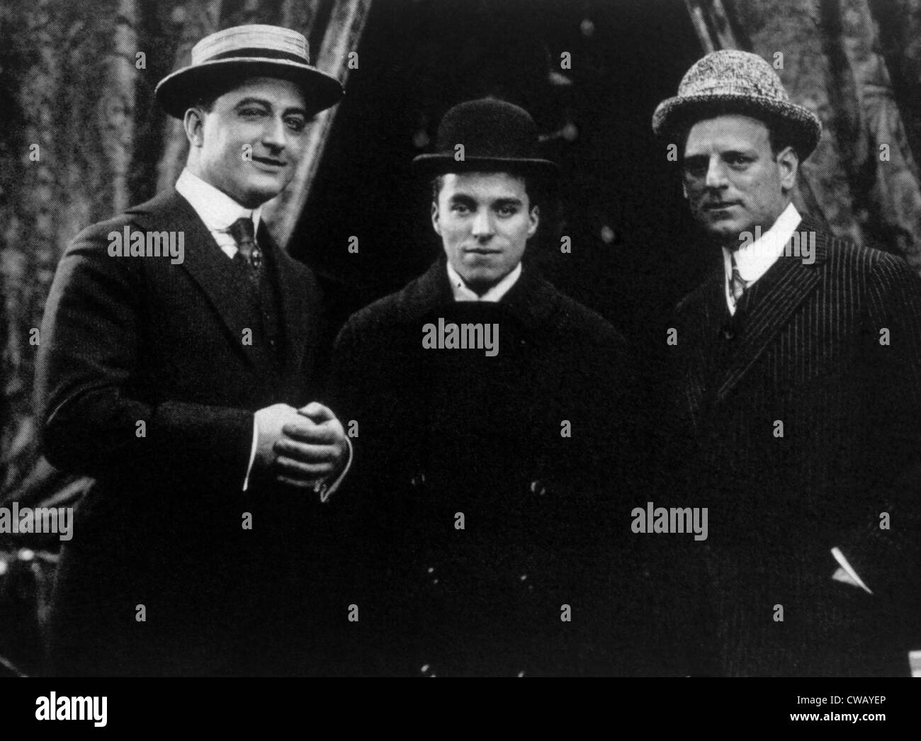 Essanay Studio's three star performers, Francis X. Bushman, Charlie Chaplin, Gilbert Anderson, (aka Broncho - Stock Image