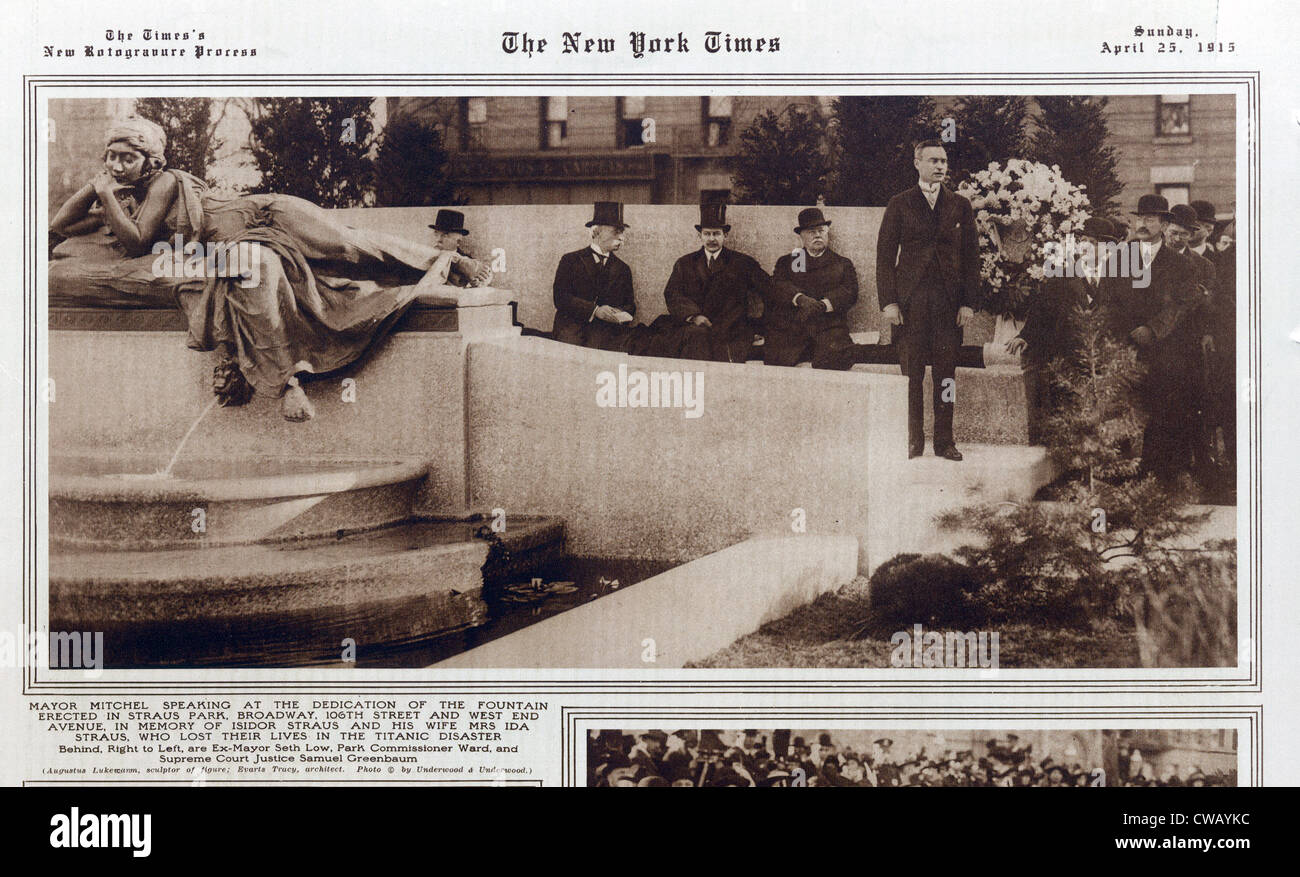 TITANIC: New York Times article showing Mayor Mitchel speaking at dedication of fountain erected at Straus Park - Stock Image
