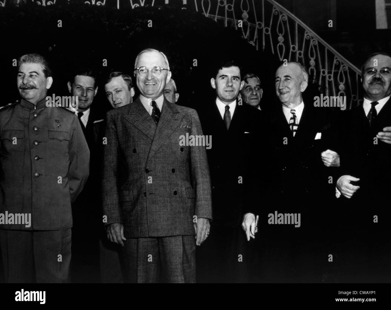 The Potsdam Conference, Josef Stalin, Harry S. Truman, James Byrnes, Vyacheslav Molotov, 1945. - Stock Image