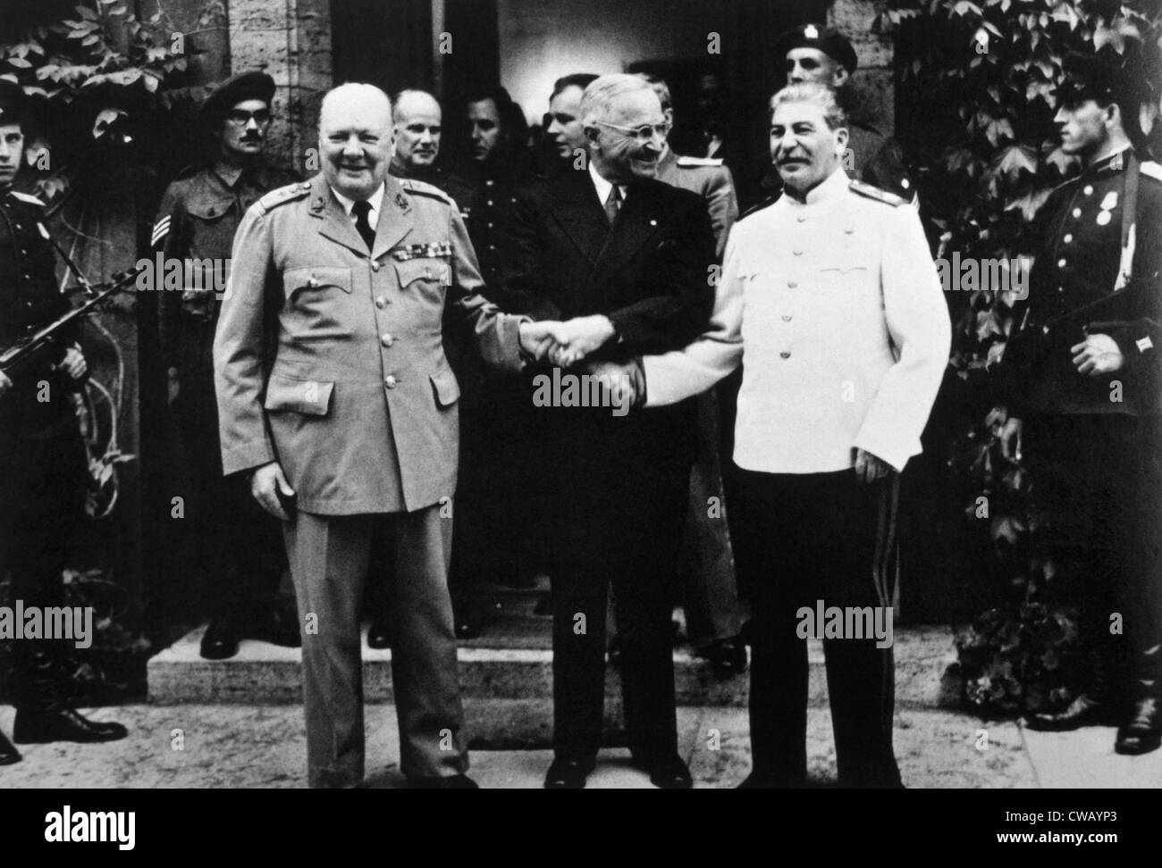 The Potsdam Conference, Winston Churchill, Harry S. Truman and Joseph Stalin, 1945. - Stock Image