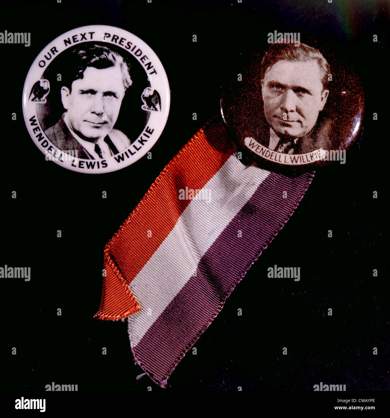 Campaign buttons for the presidential campaign of Republican nominee Wendell Willkie, 1940 - Stock Image