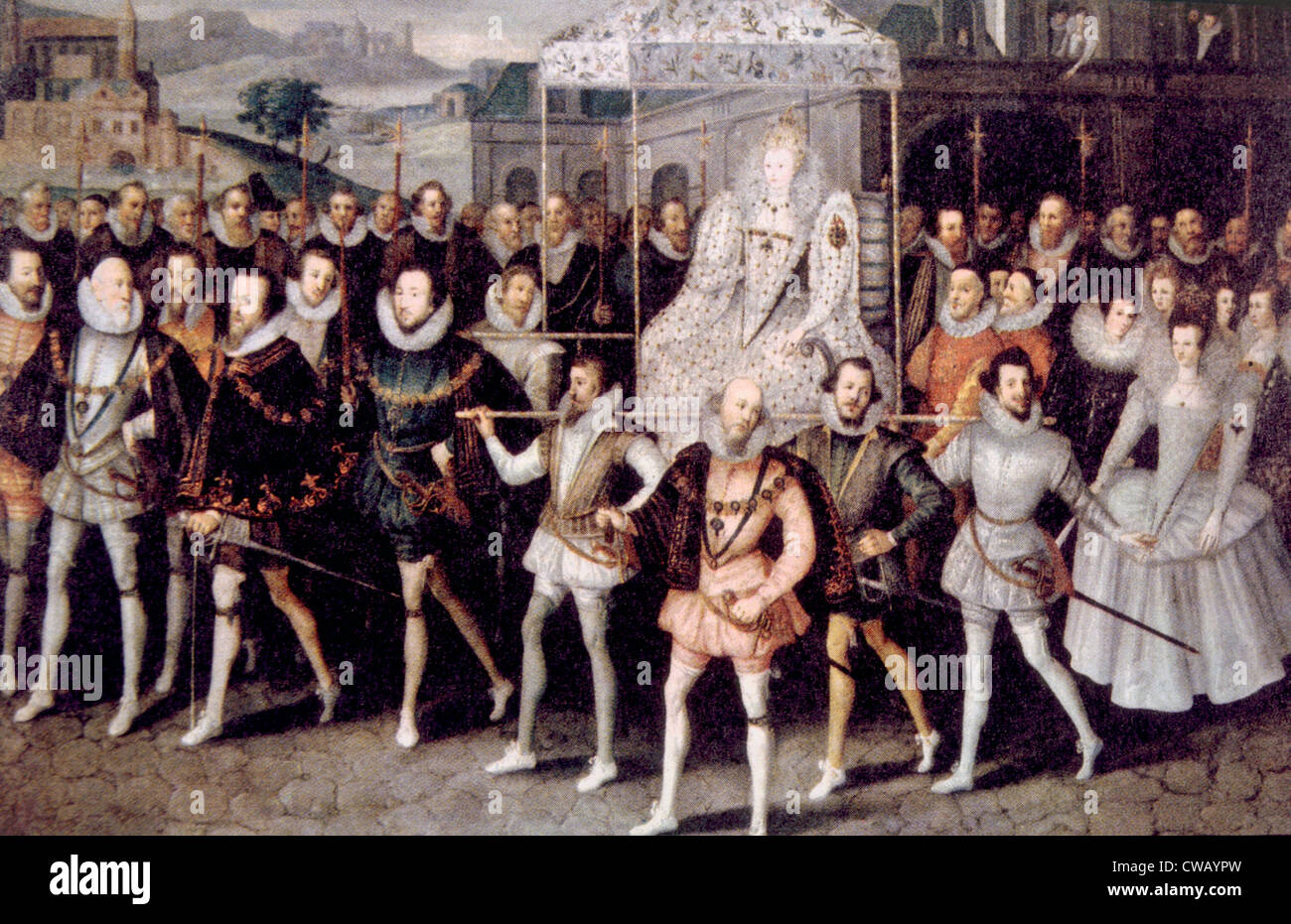QUEEN ELIZABETH I, (1533-1603), Queen of England 1558-1603, being carried  by her courtiers.